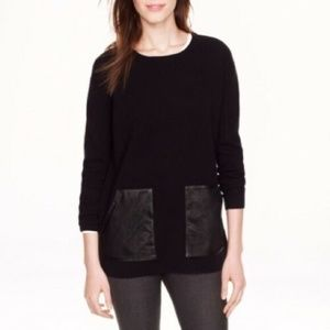 J. Crew Wool Leather Pockets Knit Pullover Sweater
